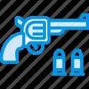bullet, colt, cowboy, handgun, pistol, revolver, webby icon