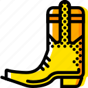boot, cowboy, retro, west, wild, yellow icon