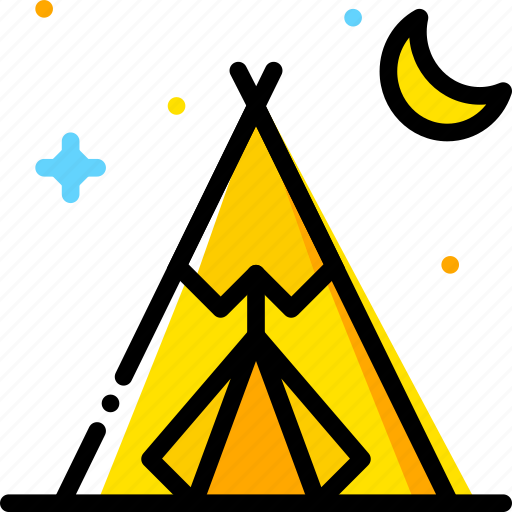 american, native, retro, tent, west, wild, yellow icon