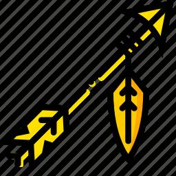 arrow, retro, west, wild, yellow icon