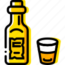 bottle, retro, west, whiskey, wild, yellow icon