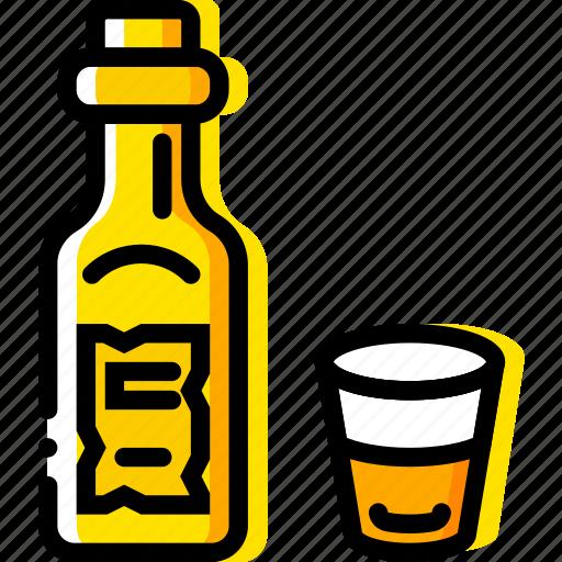 bottle, retro, west, whiskey, wild, yellow icon
