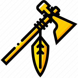 retro, tomahawk, west, wild, yellow icon