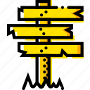 crossroad, retro, sign, west, wild, yellow icon
