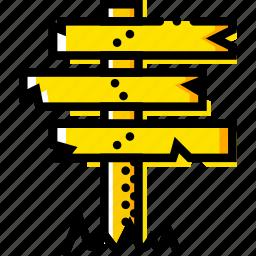 crossroad, retro, sign, west, wild, yellow icon
