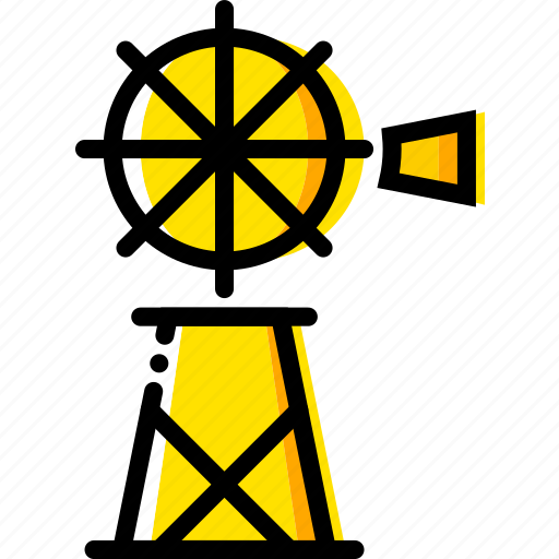 mill, retro, water, west, wild, yellow icon