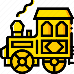 retro, train, west, wild, yellow icon