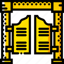 doors, retro, salloon, west, wild, yellow icon