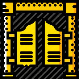 doors, retro, salloon, west, wild, yellow icon
