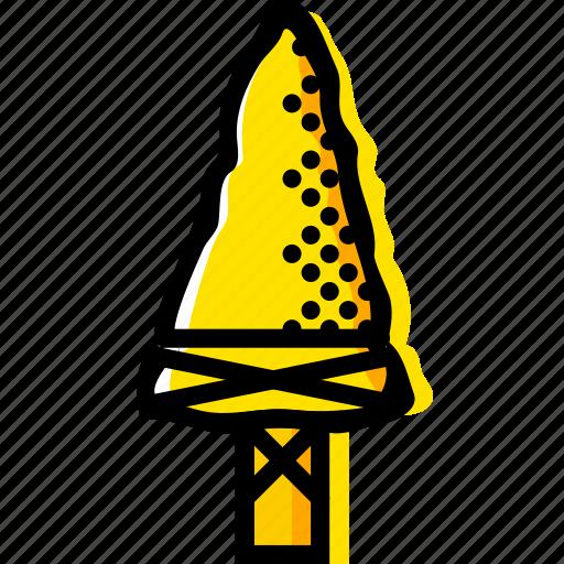 arrow, head, retro, west, wild, yellow icon