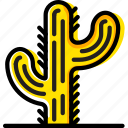 cactus, retro, west, wild, yellow icon