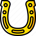 horseshoe, retro, west, wild, yellow icon