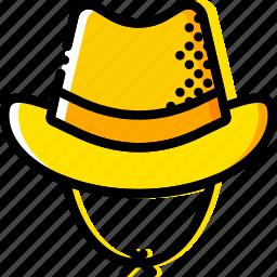 cowboy, hat, retro, west, wild, yellow icon
