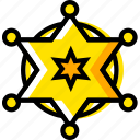 badge, retro, sherriffs, west, wild, yellow icon