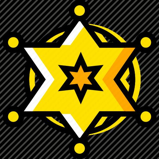 badge, retro, sherriffs, west, wild, yellow icon