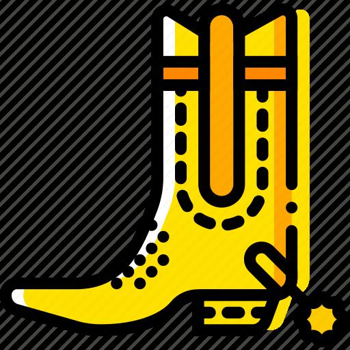 boots, retro, riding, west, wild, yellow icon