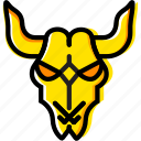 cattle, retro, skull, west, wild, yellow icon