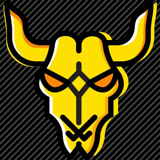 cattle, retro, skull, west, wild, yellow icon