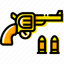 colt, retro, revolver, west, wild, yellow icon