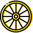 chariot, retro, west, wheel, wild, yellow icon