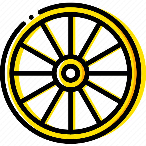 chariot, retro, west, wheel, wild, yellow icon