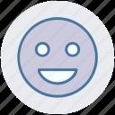 emoticon, expression, face, happy, laugh, smile, smiley
