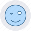 avatar, blink, emoji, emoticon, face, smiley, wink