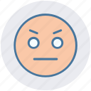 angry, angry smiley, emoticons, expression, face smiley, nodding, stare emoticon icon