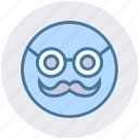 emoji, emoticons, face, glasses, man, old, smiley