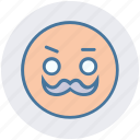 emoticons, old, smiley, face, man, emoji