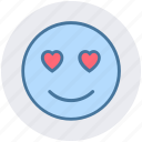 adoring, emoticons, heart eye, in love, love, loving, smiley icon