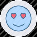 adoring, emoticons, heart eye, in love, love, loving, smiley