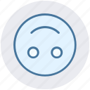 down, emoji, emoticon, face, happy, smile, smiley face icon