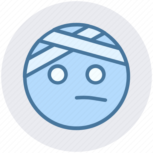 Emoji, emoticons, expression, face, head beat, monochrome, pain icon - Download on Iconfinder