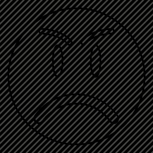 angry, emoji, emoticon, face, sad icon