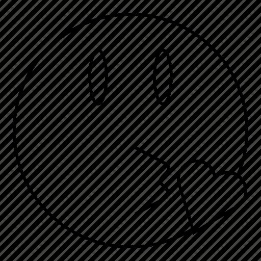 emoji, emoticon, face, kiss, smile icon