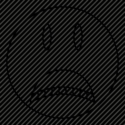 emoji, emoticon, face, sad, smile icon