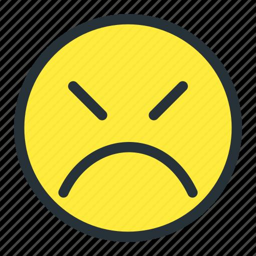 angry, emoji, emoticons, face, smiley, unhappy icon