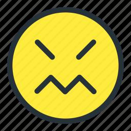 angry, emoji, emoticons, face, sick, smiley icon