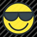 cool, emoji, emoticons, face, happy, smiley, sunglasses