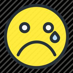 cry, emoji, emoticons, face, sad, smiley icon