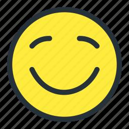 blushing, emoji, emoticons, face, happy, smiley icon
