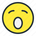 emoji, emoticons, face, lazy, shocked, smiley icon