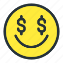 dollar, emoji, emoticons, face, money, smiley icon