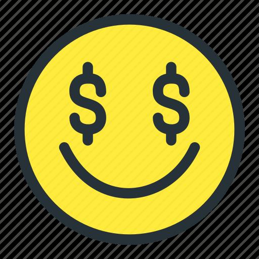 dollar, emoji, emoticons, face, money, smiley icon