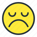 emoji, emoticons, face, sad, smiley, unhappy icon