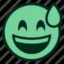 dancing, emoji, emoticon, grinning, party, smiley, sweat