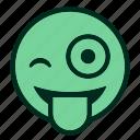 emoji, emoticon, funny, joke, smiley, tongue, winking