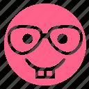 avatar, emoji, face, innocent, nerd, pink, teeth