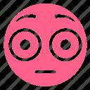 confused, emoji, face, flushed, pink, smiley, surprised